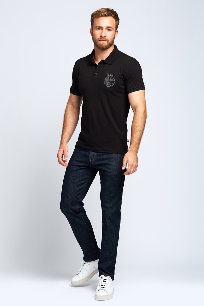 August McGregor Embroidered Blood Hungry Gorilla Pima Cotton Pique Polo in Black