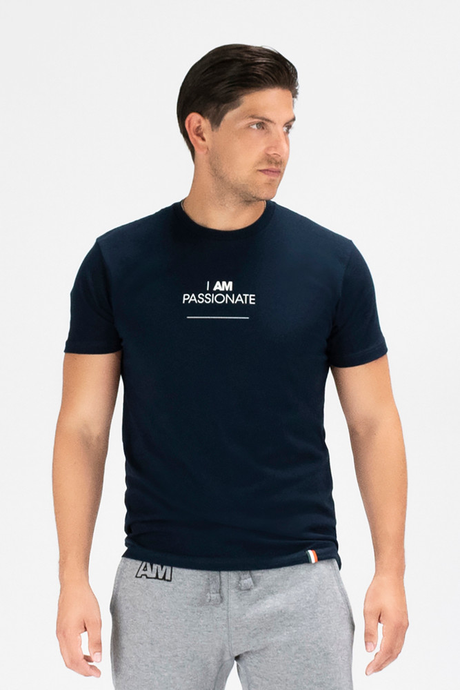 August McGregor I AM PASSIONATE premium cotton-blend crewneck t-shirt in Navy