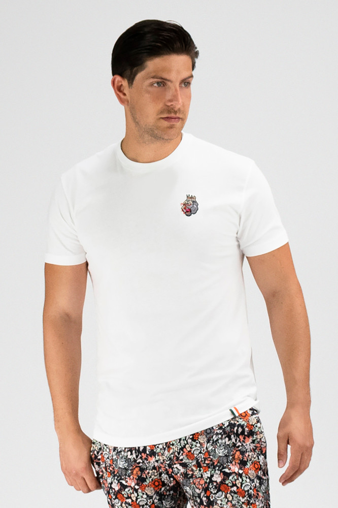 August McGregor embroidered 3-color blood hungry gorilla premium t-shirt in white