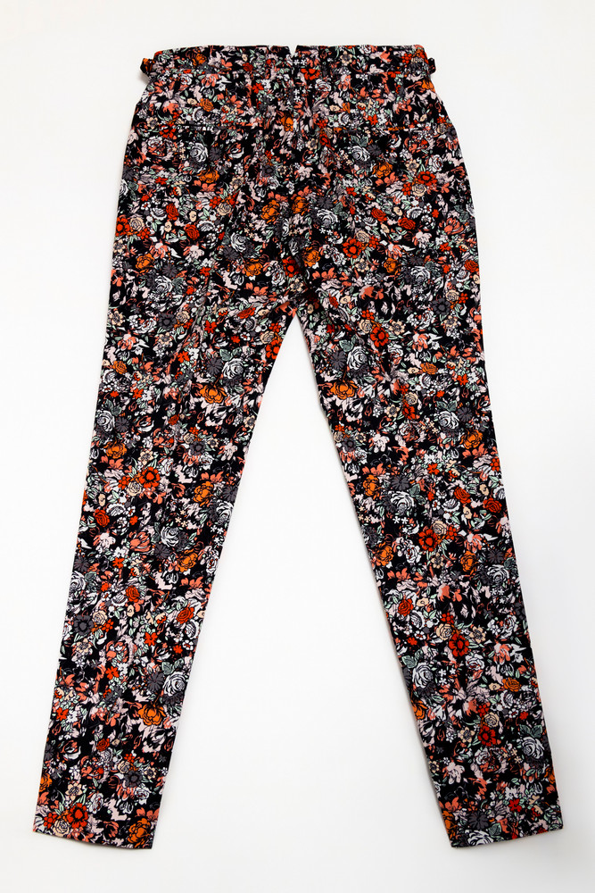 August McGregor Laguna Canyon Coral Black Floral Slim-fit Cotton Trousers