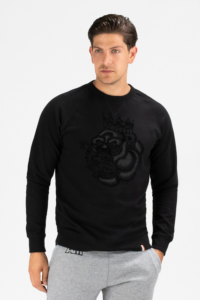 August McGregor Flocked Blood Hungry Gorilla French Terry Sweatshirt in Black