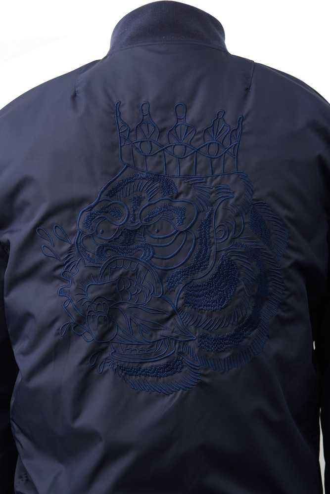 August McGregor Embroidered Blood Hungry Gorilla Navy Nylon Bomber Jacket with Contrast AM Icon Orange Quilted Lining