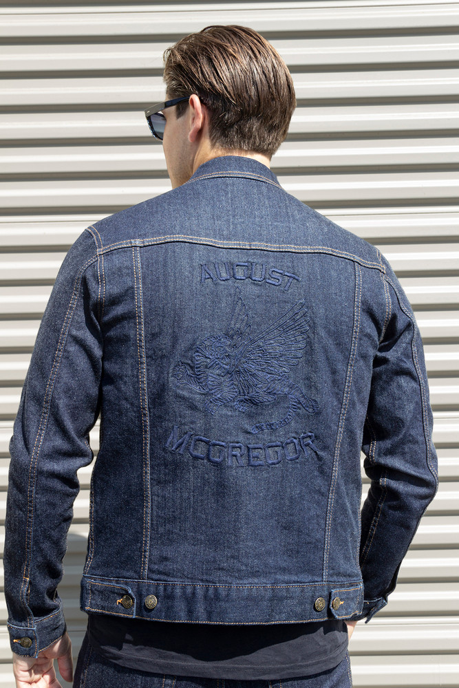 August McGregor x PRPS Embroidered Trucker Jacket in Raw Denim wash