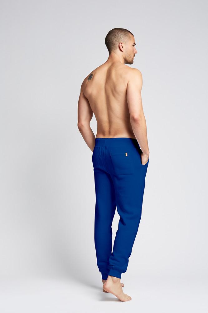 August McGregor embroidered AM monogram jogger sweatpants in Royal Blue
