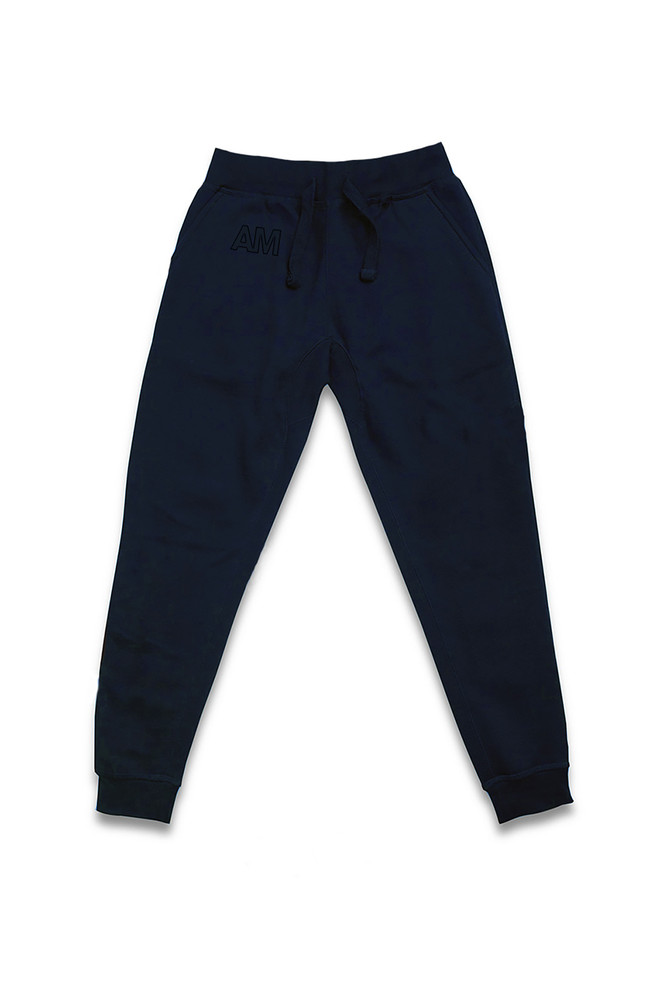 August McGregor embroidered AM monogram jogger sweatpants in Dark Navy