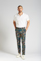 August McGregor Crystal Cove Navy Bloom Slim-fit Stretch Cotton Trousers