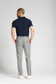 August McGregor Slim-fit 4-Season Wool Trousers in Grey with French Blue Windowpane