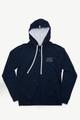 August McGregor Eff You Pinstripe Navy Zip-Up Hooded French Terry Sweatshirt