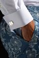 August McGregor AM branded silver clover cufflinks