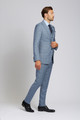 August McGregor Slim-fit Super 130s Wool 3-piece Suit in Steel Blue Glen Plaid