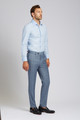 August McGregor Slim-fit Super 130s Wool Trousers in Steel Blue Glen Plaid