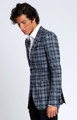 August McGregor Slim-fit Four Season Wool Jacket in Large Navy Grey Check Plaid