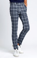 August McGregor Slim-fit Four Season Wool Trousers in Large Navy Grey Check Plaid