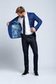 Slim-fit Four Season Wool 2-Piece Suit in Multi Blue Mini Check