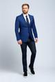 August McGregor Slim-fit Four Season Wool Jacket in Multi Blue Mini Check Plaid