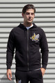 AM X PRPS Embroidered Flying Tiger Zip Hooded Sweatshirt in Black