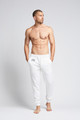 August McGregor embroidered AM monogram jogger sweatpants in white.