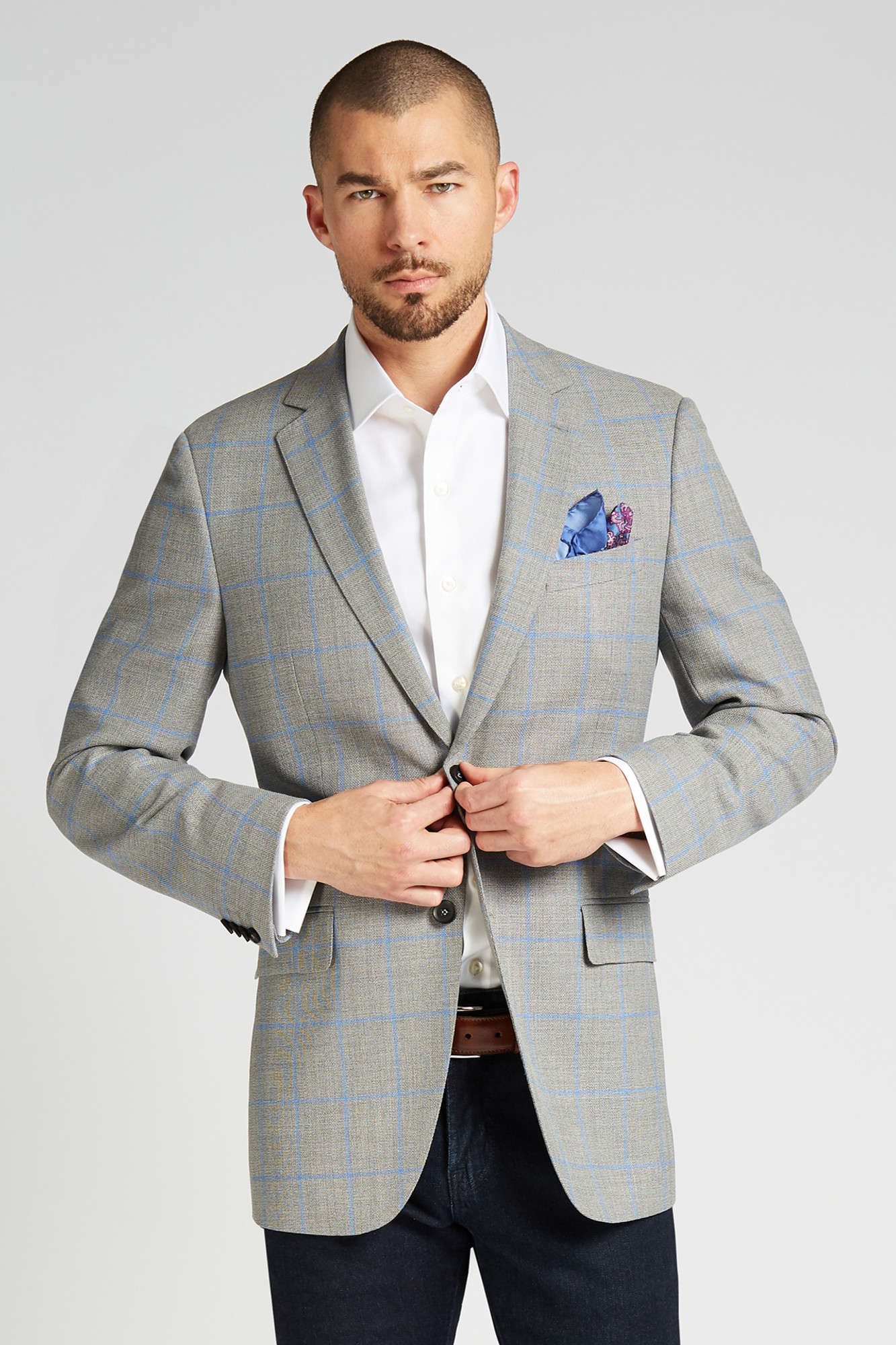2175ff38a8c941 August McGregor Slim-fit 4-Season Wool Jacket in Grey with French Blue  Windowpane ...