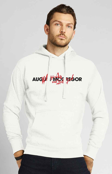 August McGregor Fleece Whoop Ass Embroidered Hooded Sweatshirt in White