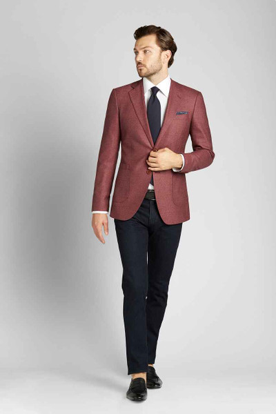 August McGregor Cut-to-Order Cranberry Herringbone Sport Coat