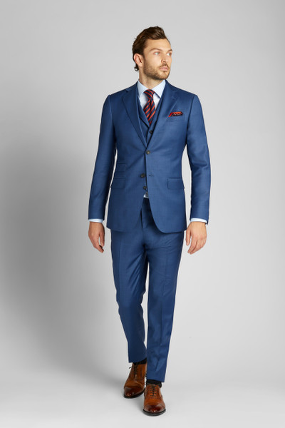 August McGregor French Blue Sharkskin Wool 3-Piece Suit