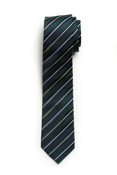August McGregor Green Navy Stripe Tie