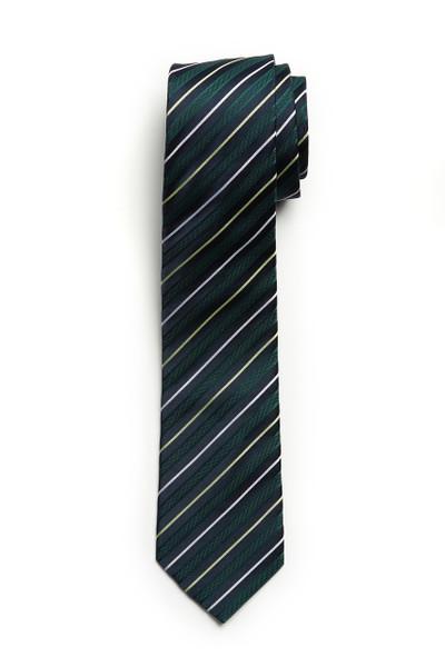 August McGregor Green Navy Stripe Tie