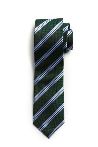 August McGregor Green with Light Blue Stripe Tie