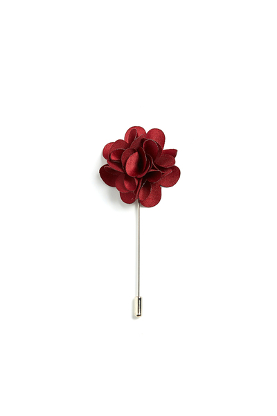 August McGregor Burgundy Floral Lapel Pin