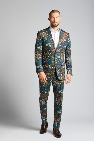 August McGregor Crystal Cove Navy Bloom Slim-fit Stretch Cotton 2-piece Suit