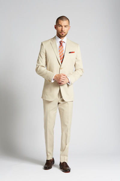 August McGregor Slim-fit Stretch Cotton Chino 2-Piece Suit in Khaki