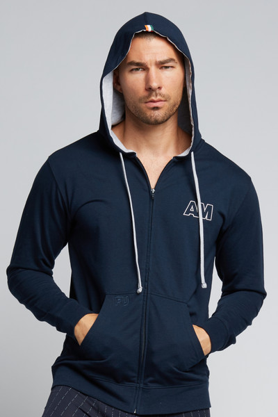 August McGregor Eff You Pinstripe Navy Zip-Up Hooded French Terry Sweatshirt