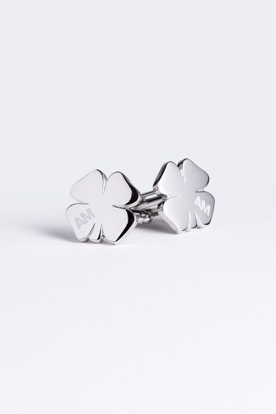 August McGregor AM branded silver clover cufflinks