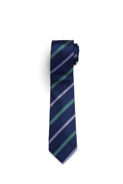 Navy with Red, Green, and Celeste Blue Stripe Tie