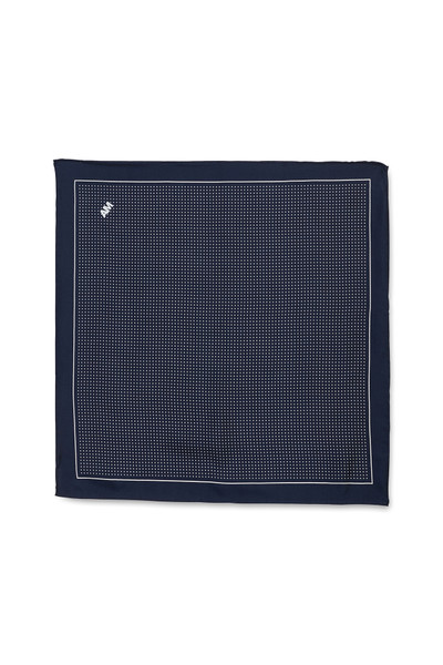 August McGregor white polka dot on navy silk pocket square