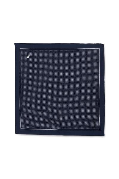 August McGregor white polka dot on navy silk pocket square