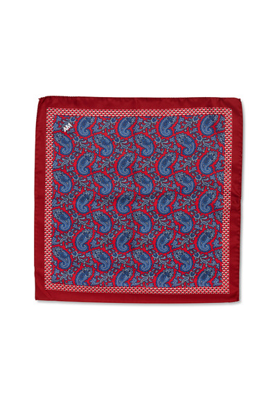 August McGregor red with blue paisley silk pocket square