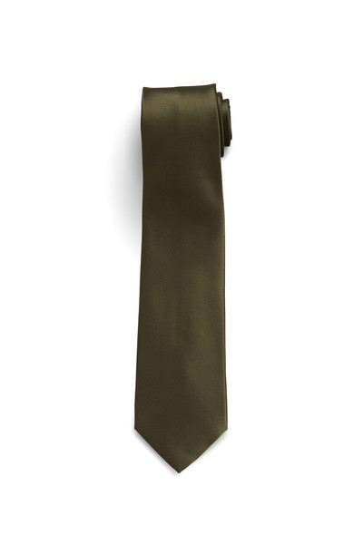 August McGregor Solid Silk-Satin Olive Green Tie