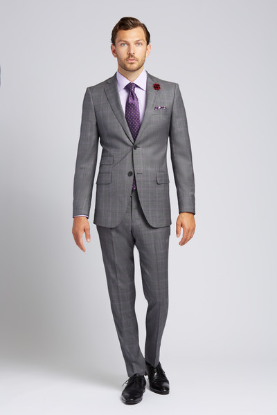 August McGregor Slim-fit Super 130s Wool 2-piece Suit in Grey with Lavender Glen Plaid