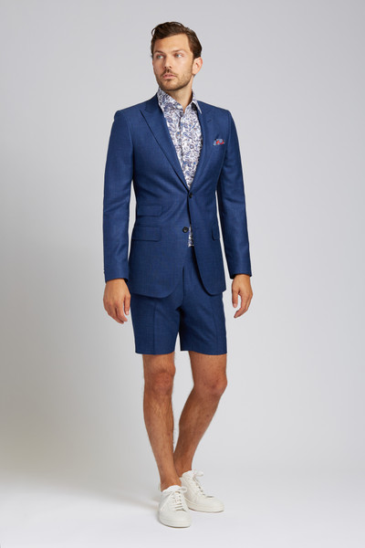 August McGregor Slim-fit Linen-blend 2-piece Shorts Suit in Lapis Blue