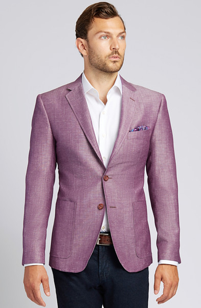 August McGregor Slim-fit Linen-blend Jacket in Plum