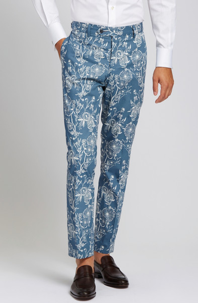 August McGregor Poppy Slate Blue Slim-fit Cotton Trousers
