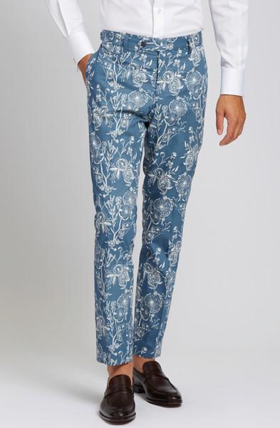 August McGregor Poppy Slate Blue Slim-fit Cotton Trousers