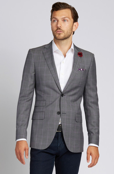 August McGregor Slim-fit Super 130s Wool Jacket in Grey with Lavender Glen Plaid