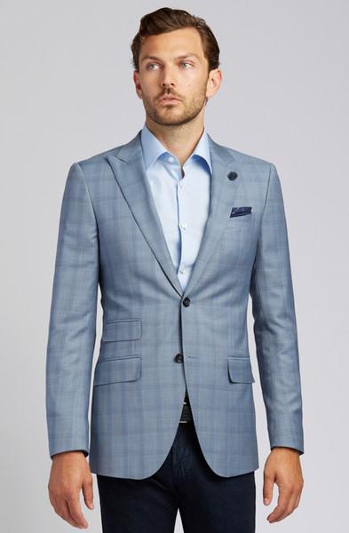 August McGregor Slim-fit Super 130s Wool Jacket in Steel Blue Glen Plaid