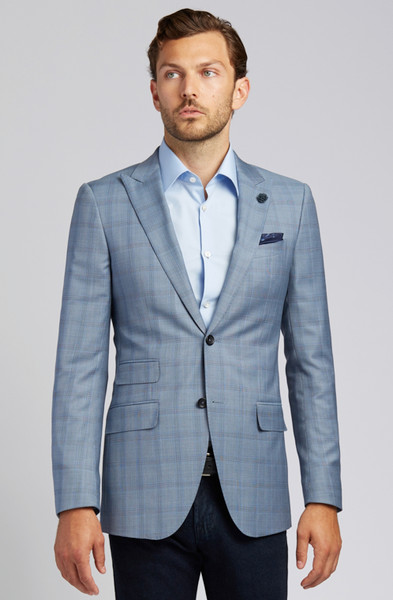 August McGregor Slim-fit Super 130s Wool Jacket in Steel Blue Glen Plaid
