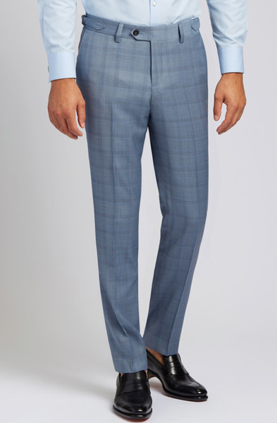 August McGregor Slim-fit Super 130s Wool Trousers in Steel Blue Glen Plaid