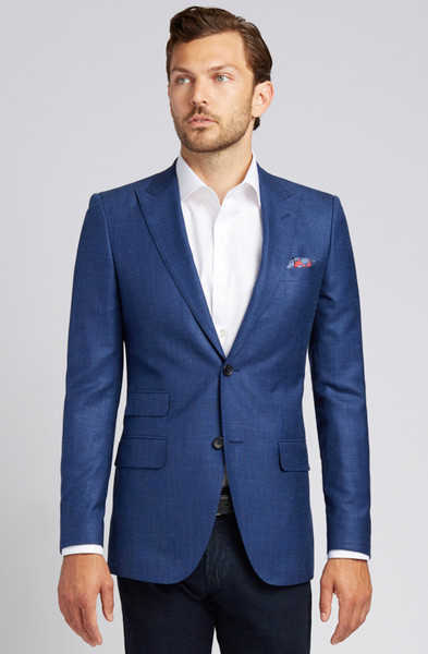 August McGregor Slim-fit Linen Blend Jacket in Lapis Blue