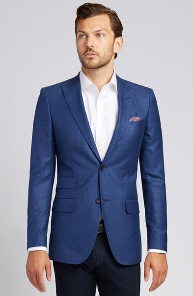 August McGregor Slim-fit Linen Blend Jacket in Lapis Blue