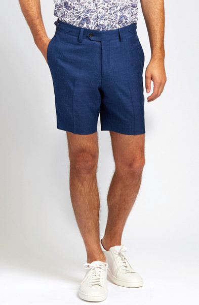 August McGregor Slim-fit Linen Blend Shorts in Lapis Blue